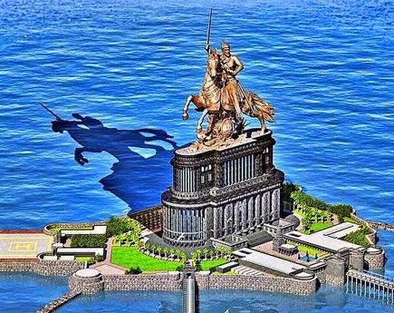 Statue of Chhatrapati Shivaji Maharaj near Mumbai
